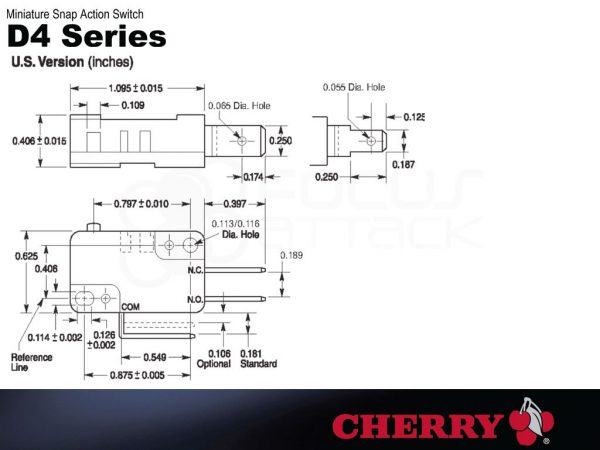 Image of D44X Cherry Button Microswitch Diagram