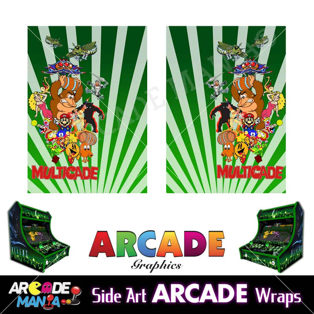 Image of Donkey Kong (Green) Arcade Machine Graphics Wraps