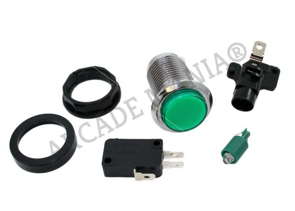 Image of Green LED Button with Chrome Bezel