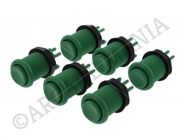 Image of 6 Green Colour Concave Buttons