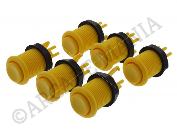 Image of 6 Yellow Colour Concave Buttons
